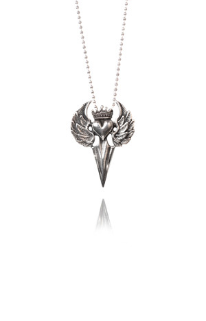 Silver flying heart with dagger necklace- Biker Chic!