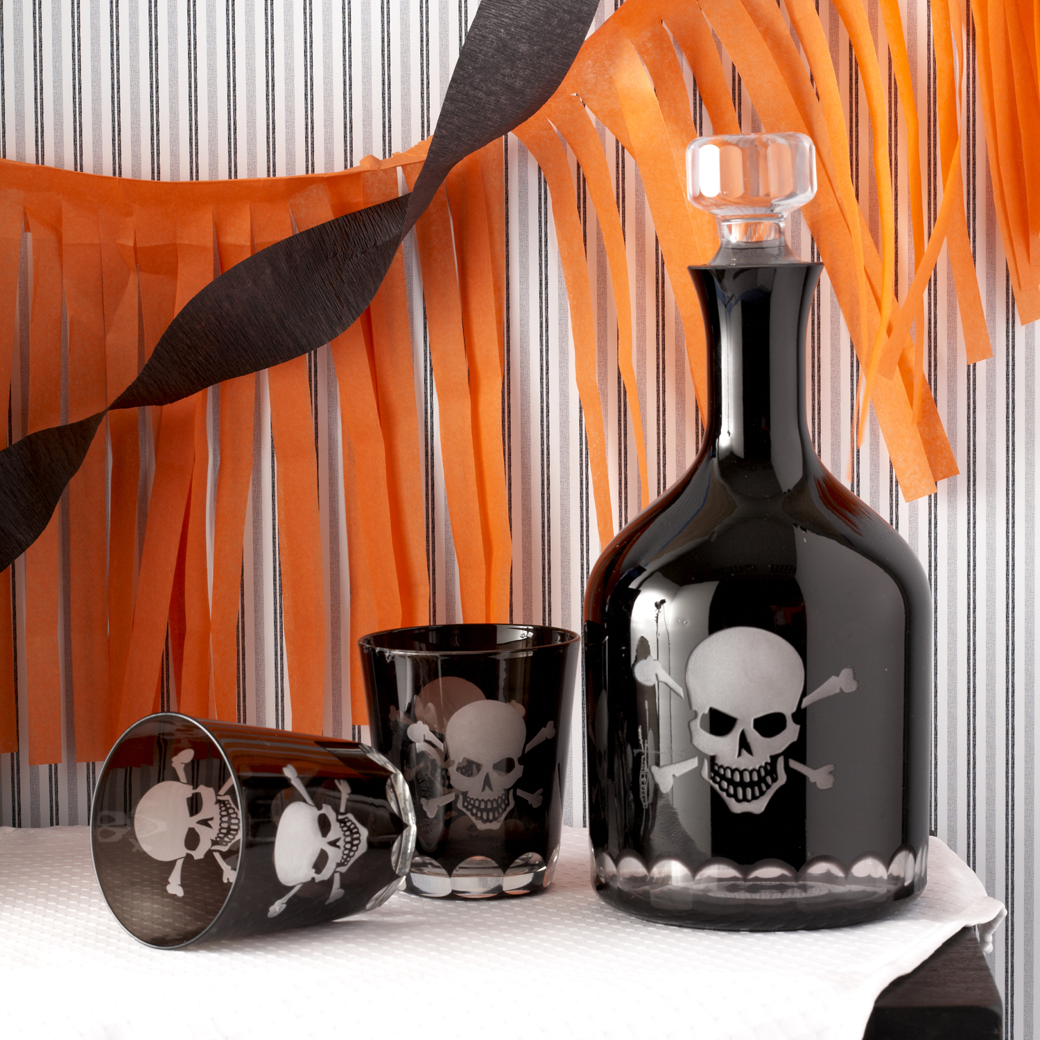 Skellington Skull and CrossBones glass (Individual) - Stunning!!