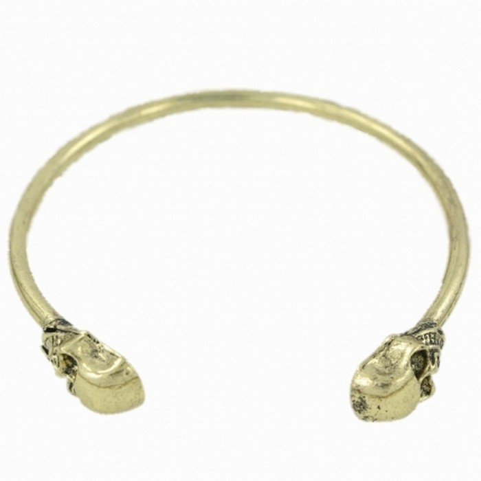 Bronze tone skull skinny bangle