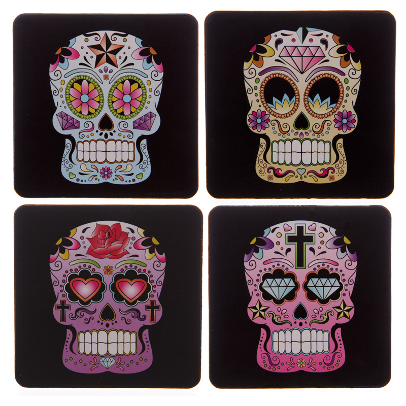 Set of 4 Day of the Dead Skull Coasters