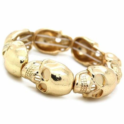 Gold Skull Stretch Bracelet
