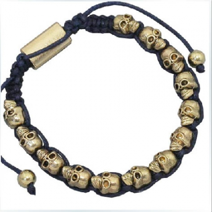 Golden skull friendship bracelets with black string