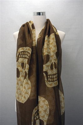 Diamond Skull Print Scarf-Brown