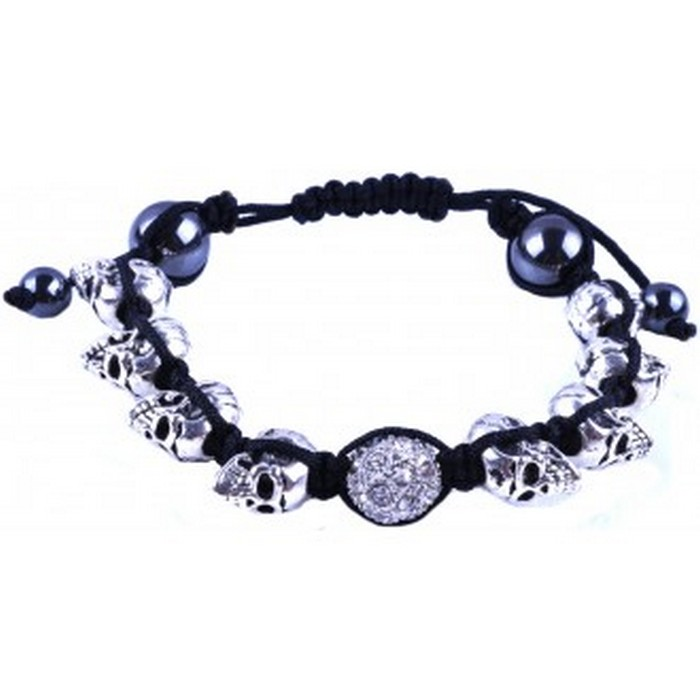 Alloy Crystal Silver Plated Skull Beaded Bracelet