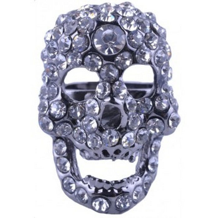 White Rhinestone Skull Ring