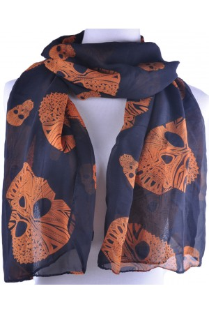 Black base orange skull scarf