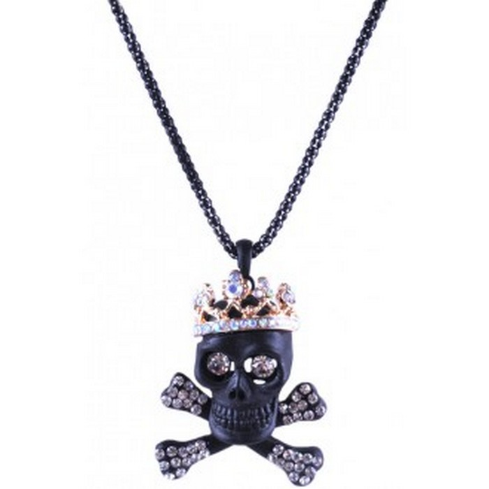 Black Plated AB White Rhinestone Crown Skull Necklace