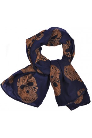 Dark Blue with Brown Skull Print Scarf