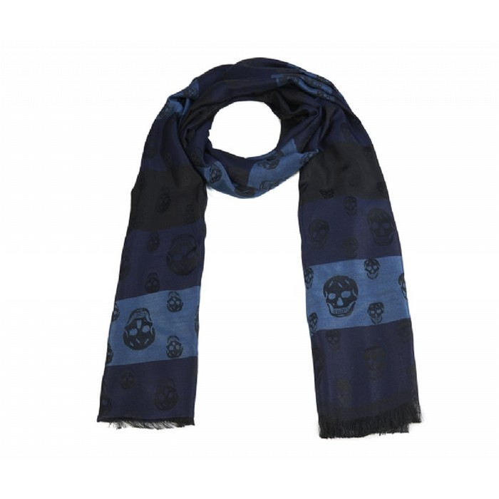 Luxurious wool touch skull scarf- Winter favourite. Blue