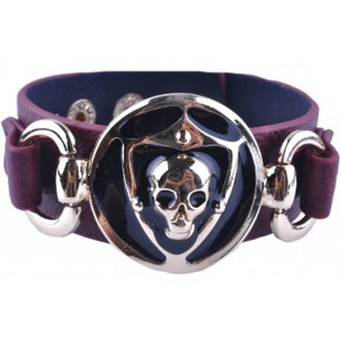 Brown Base Skull Leather Bracelet / Cuff - Unisex