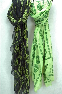 Classic Skull Print Scarf-Green skulls on black background
