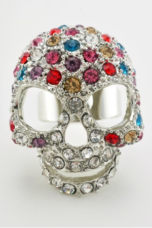Silver Tone Colourful Full Rhinestone Skull Ring