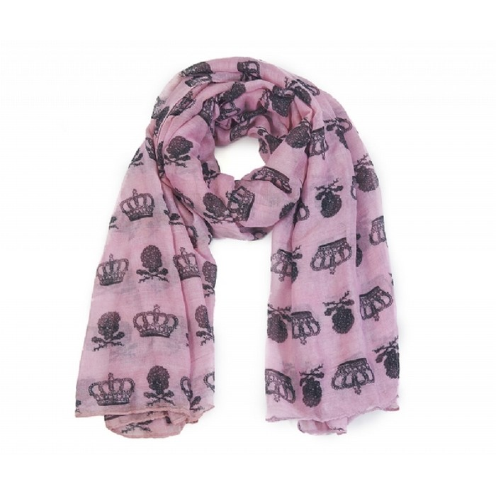 Crown and skull print scarf light pink/purple