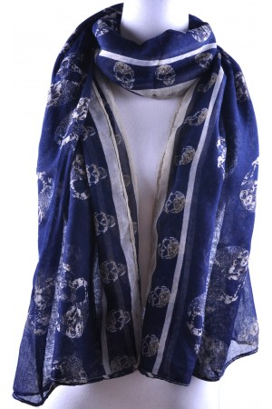 Deep Blue Base White Skull Print Scarf