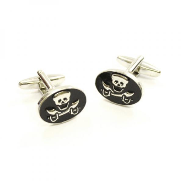 Skull & Crossbones Oval Enamelled Cufflinks