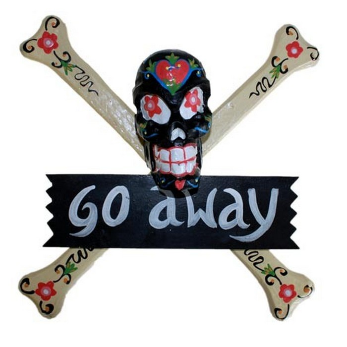 Skulls Warning Sign - GO AWAY