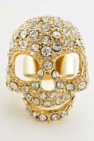 Gold Tone Full Rhinestone Skull Ring