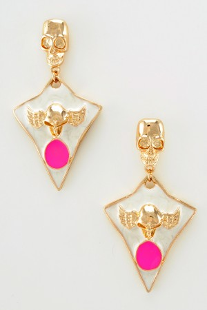 Gold Tone White Triangle Skull Stud Earring