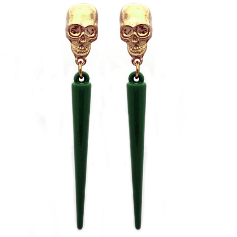 Green Spike Skull Earrings