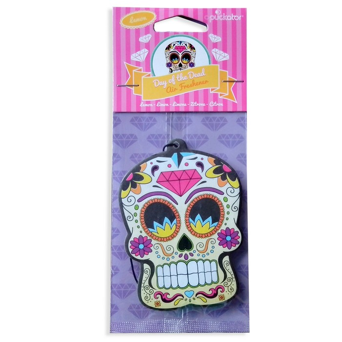 Day of the Dead Skull Air Freshner- Lemon
