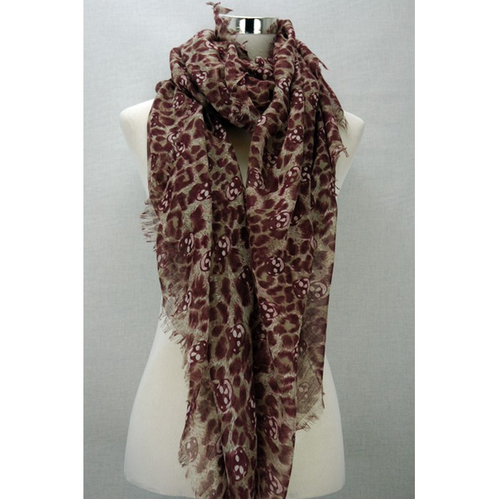 Skull leopard print scarf- red