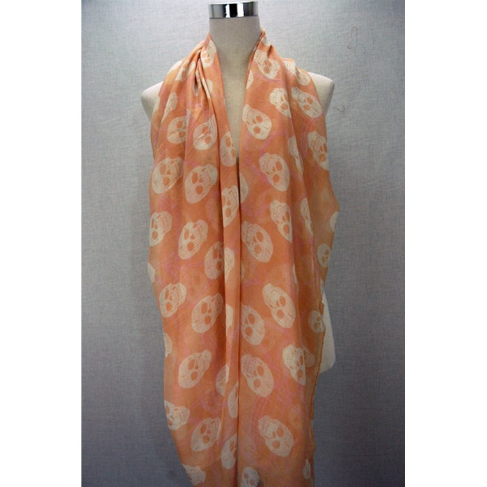 Peach colour chained skull print scarf