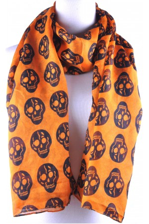 Orange Base Black Skull Print Scarf