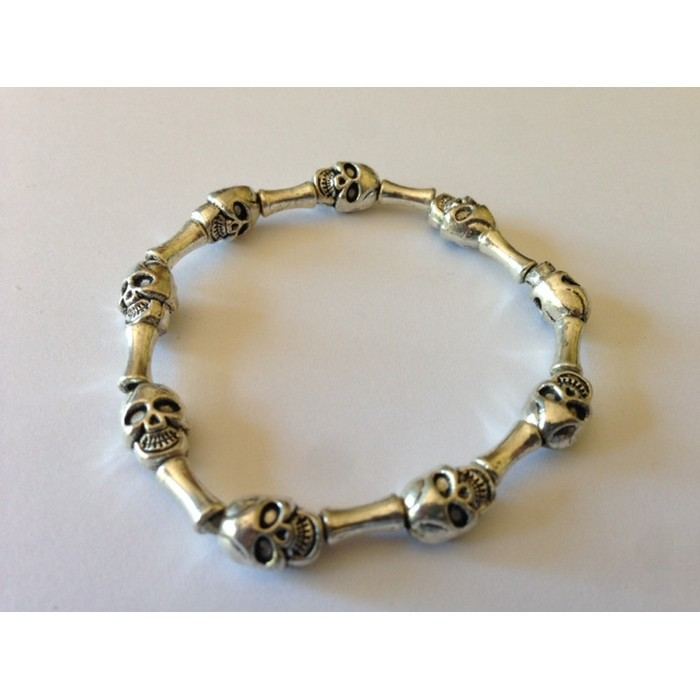 Skull Metal Silver Bead Stretch Bracelet