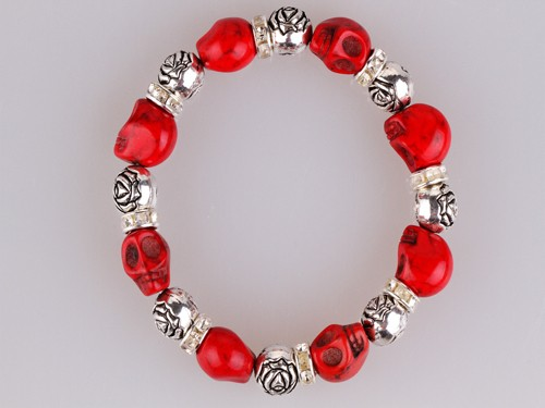 Metal Silver Rose Bead With Red Chinese Turquoise Skull Beads