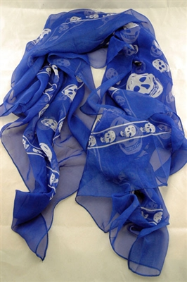 Silkaline Skull Scarf-Blue with white skulls