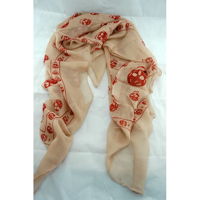 Silkaline skull scarf - peachy skin and red