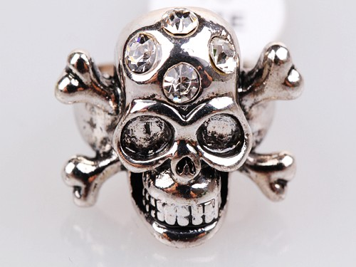 Skull & CrossBone Crystal Stud Silver Colour Ring