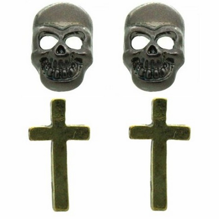 Skull & Cross Earring Set