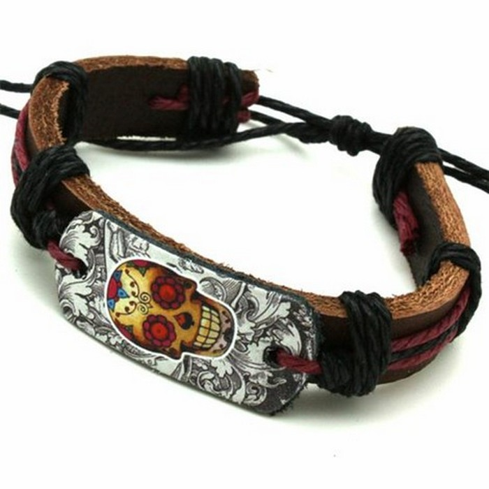 Funky Skull Natural Leather Bracelet- Unisex