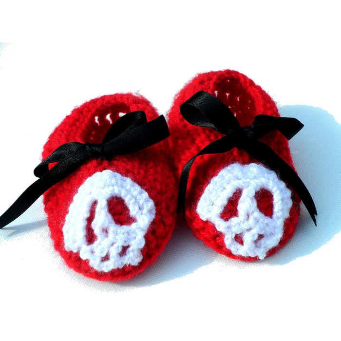 Baby Booties - Hand Crocheted Skull Logo
