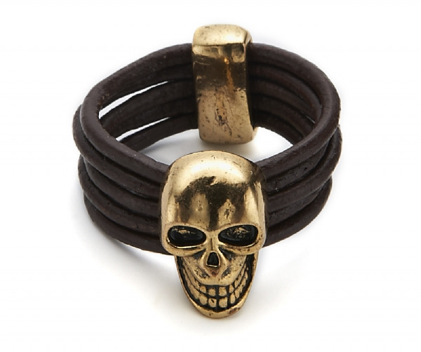 Skull Leather Ring