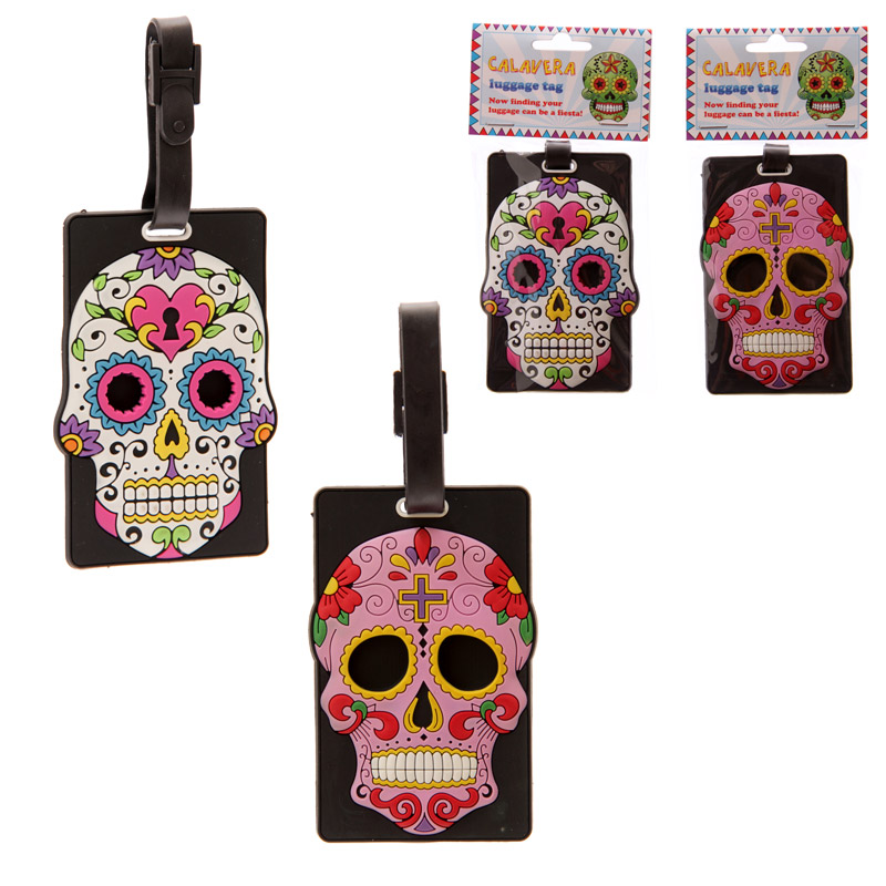Funky Skull Day of the Dead PVC Luggage Tag