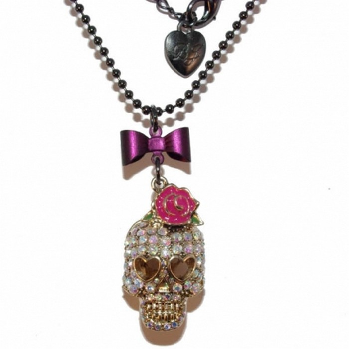BETSEY JOHNSON ORIGINAL Swarovski stone pink rose skull diamante