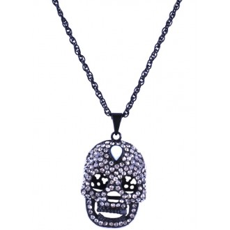 Rhinestone Plated skull necklace