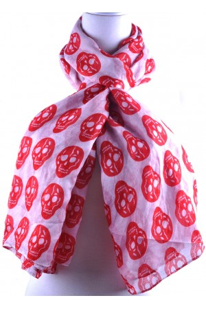 White Base Red Skull Print Scarf