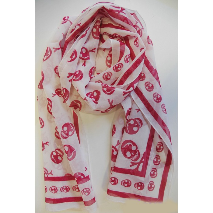 Designer Silky Chiffon skull scarf- white and rouge